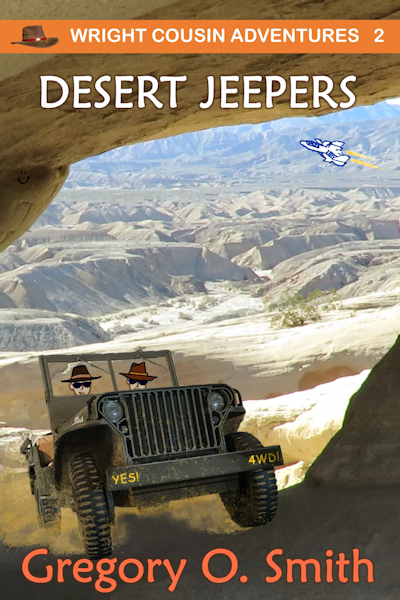 Picture of 2 teenage boys riding in an army jeep, driving into a desert cave.