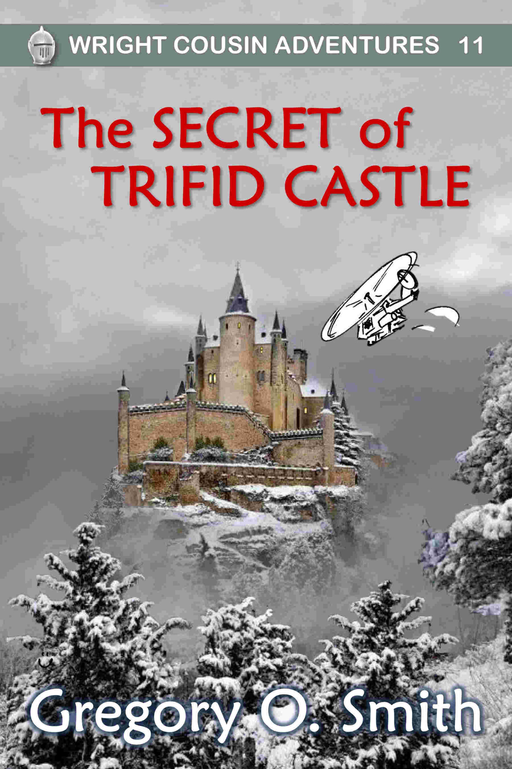 Castle in snow with flying helicopter