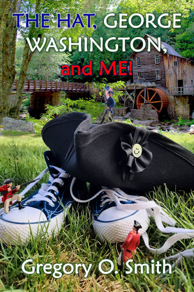 Photo of tennis shoes, tricorn hat, and gristmill with waterwheel.