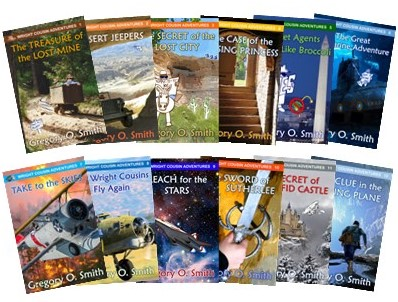 Picture of 12 books in the Wright Cousin Adventure series
